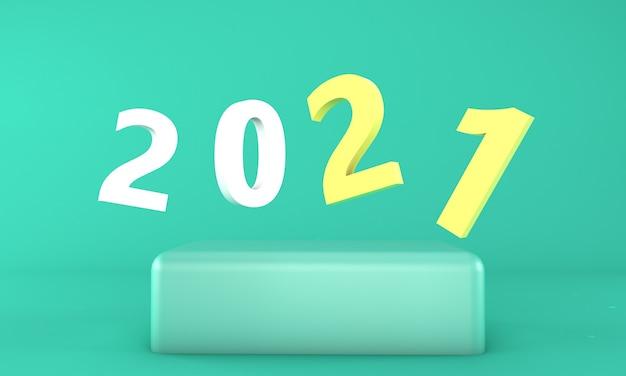 Концепция дизайна новый год 2021. 3d иллюстрации. 3d визуализация