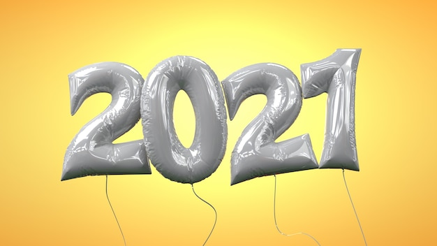 New year 2021 helium balloon letters transparent layer