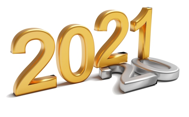 New year 2021 holiday concept. the gold number 2021 lies at 2020