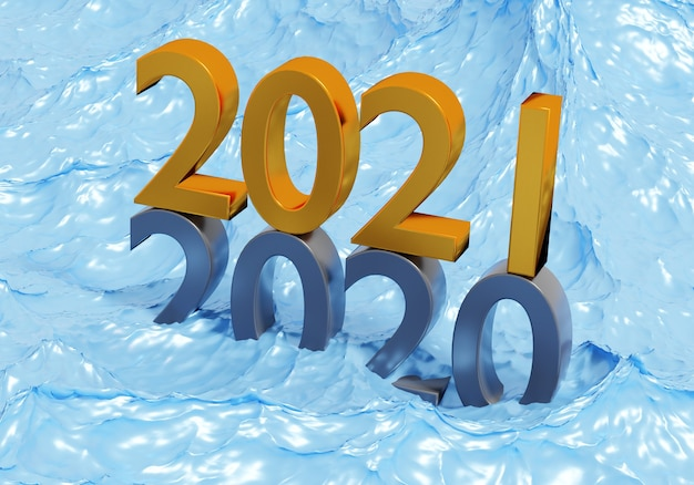 New year 2021 holiday concept. the number 2021 lies at 2020 in water