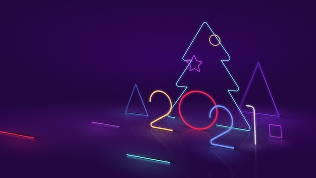 New year 2021. modern tree and number 2021 on neon or led effect