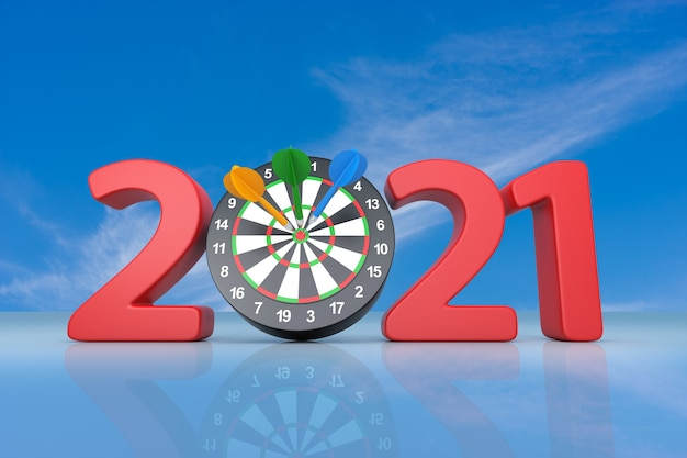 다트 보드가 있는 2021년 새해. 3d 그림