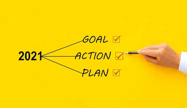 New year 2021 with goal, plan and action concept. business management, inspiration  and motivation.