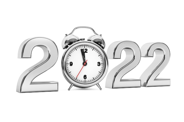 New year 2022 concept. 2022 steel sign with alarm clock on a white background. 3d rendering