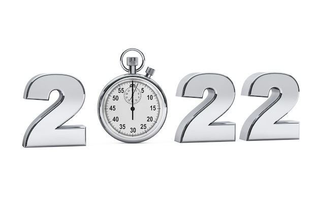 2022년 새해 컨셉입니다. 흰색 바탕에 초시계가 있는 2022 강철 기호. 3d 렌더링