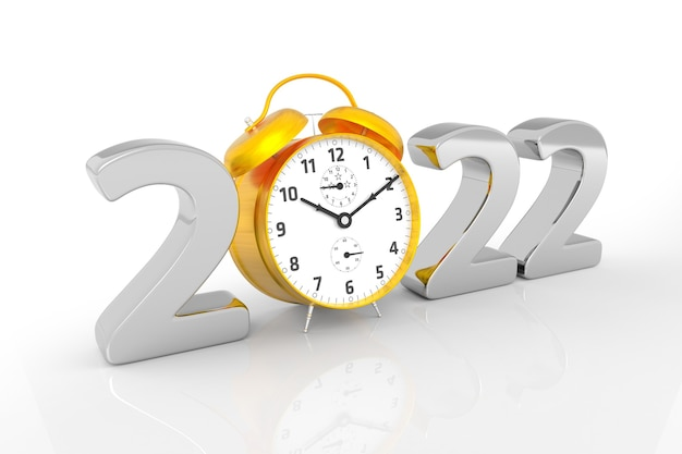 New year 2022 and gold alarm clock. 3d rendering