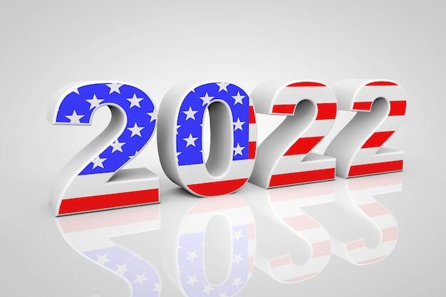 新年2022灰色の背景に米国旗として署名します。 3dレンダリング