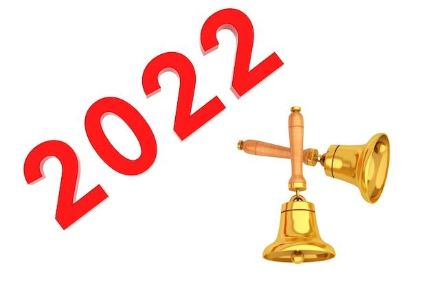 Новый год 2022 знак с золотыми колокольчиками на белом фоне. 3d рендеринг