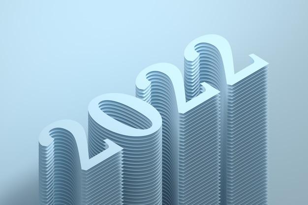 青い色の大きな太字の数字で新年2022年の簡単なイラスト