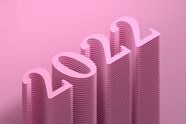 ピンク色の大きな太字の数字で新年2022年の簡単なイラスト