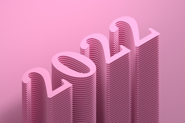 New year 2022 simple illustration with large bold numbers in pink color
