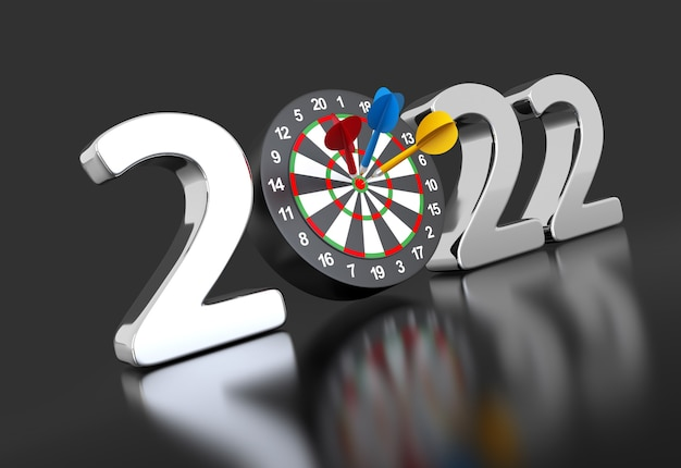 New year 2022 with darts board 3d illustration