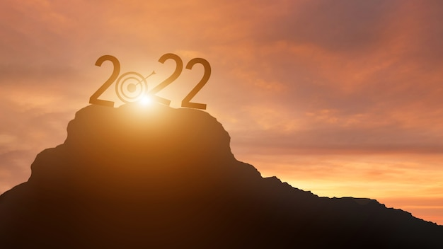 New year 2022 with a target to success silhouette.