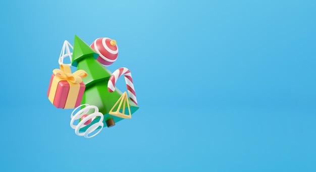 新年とクリスマスの3dデザイン。リアルなギフトボックス、クリスマスのモミの木、ボール、キャンディー、装飾的な要素の休日のバナー。クリスマス休暇の3dレンダリング画像