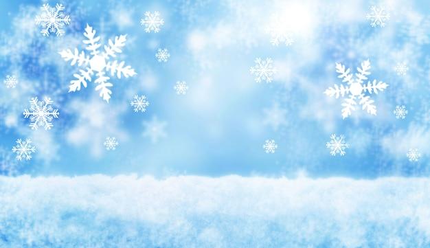 Новый год и рождество размытые снежинки. зимний синий фон снега.