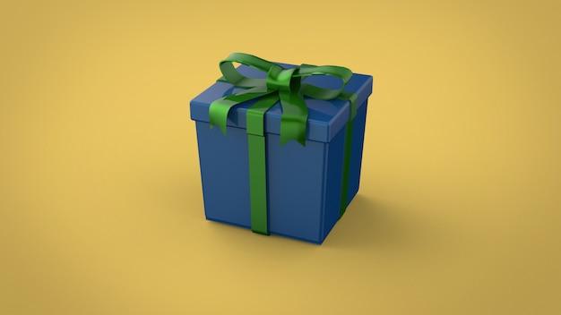 Новогодняя подарочная коробка с лентой