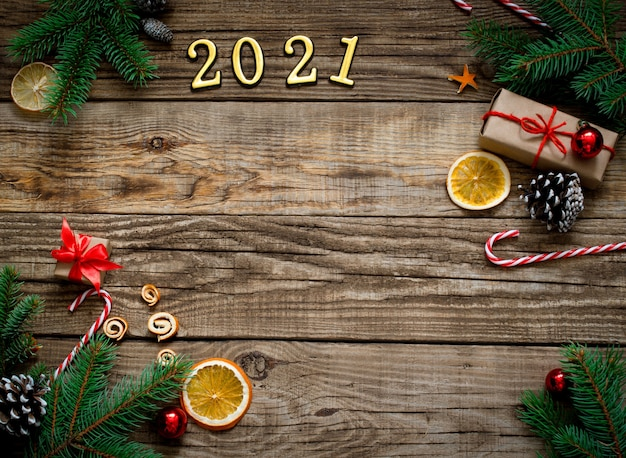 New year background 2021. christmas composition on a wooden background.