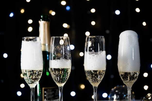 New year background with champagne glasses