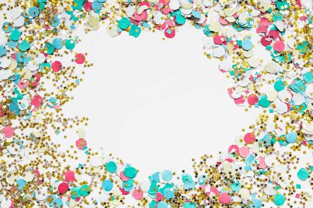 New year background with confetti and space in middle