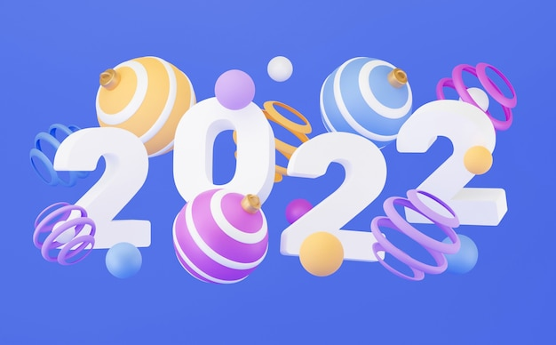新年のバナー。 3dレンダリング、抽象的なカラフルな幾何学的な背景、色とりどりのボール、風船、原始的な形、ミニマルなデザイン。メリークリスマスと新年あけましておめでとうございますグリーティングカード