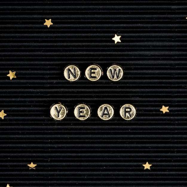 New year beads lettering word typography
