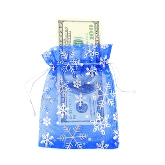 New year blue gift bag with dollars