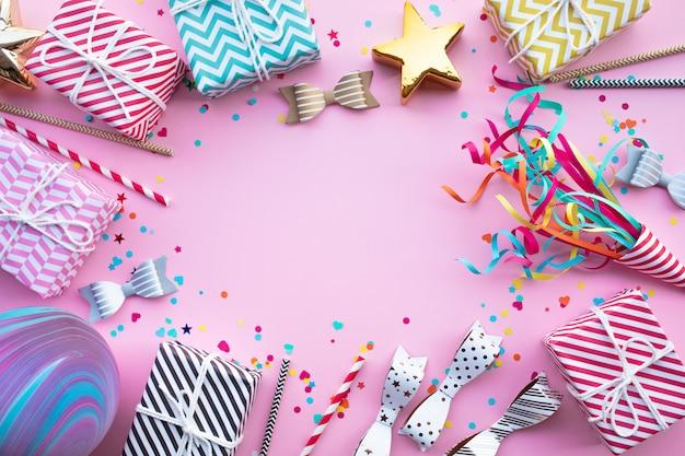 새 해 축 하, 화려한 요소와 기념일 파티 배경