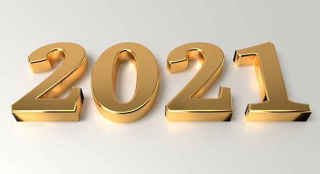 New year and celebration concept. golden number 2021