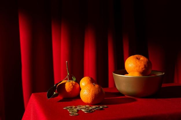 Новогодняя китайская 2021 композиция из апельсинов