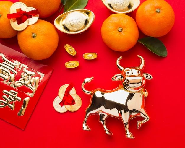 Новый год китайский 2021 цитрусовые и бык
