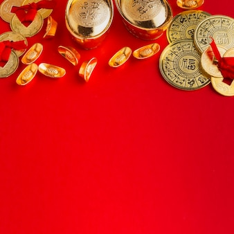 New year chinese 2021 copy space red background