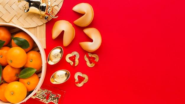Китайский новогодний 2021 фрукт и печенье с предсказанием