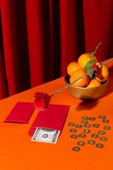 New year chinese 2021 high view oranges and coins