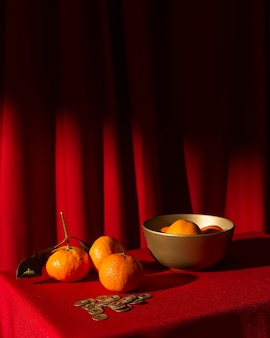 New year chinese 2021 red decor of citrus