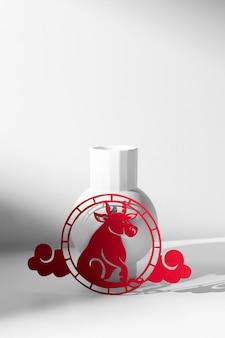Новый год китайский 2021 красный бык украшение