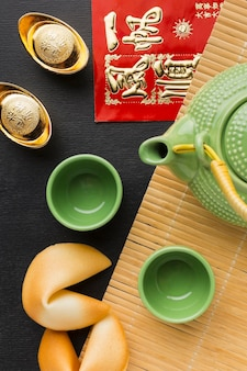 New year chinese 2021 set of teapot and cups