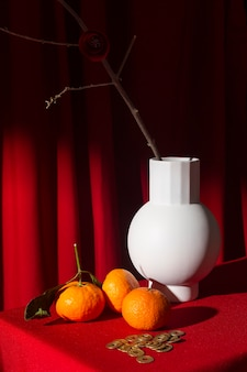 New year chinese 2021 vase and oranges