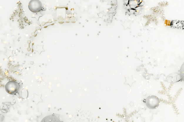 New year and christmas background. holidays and sales concept. confetti, presents and bows,top horizontal view copyspace