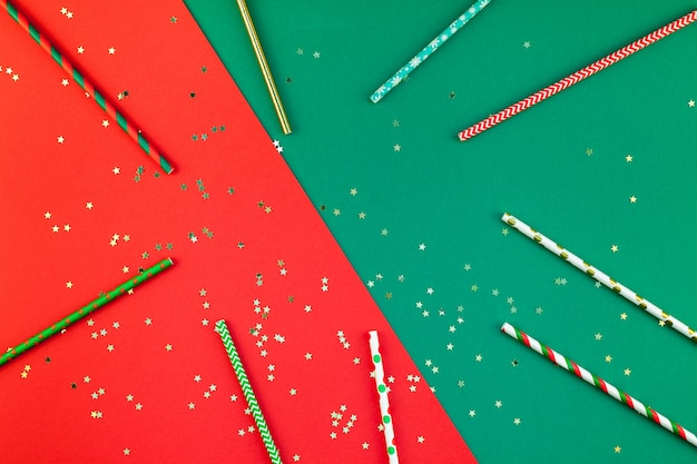 New year christmas cocktail party straws background