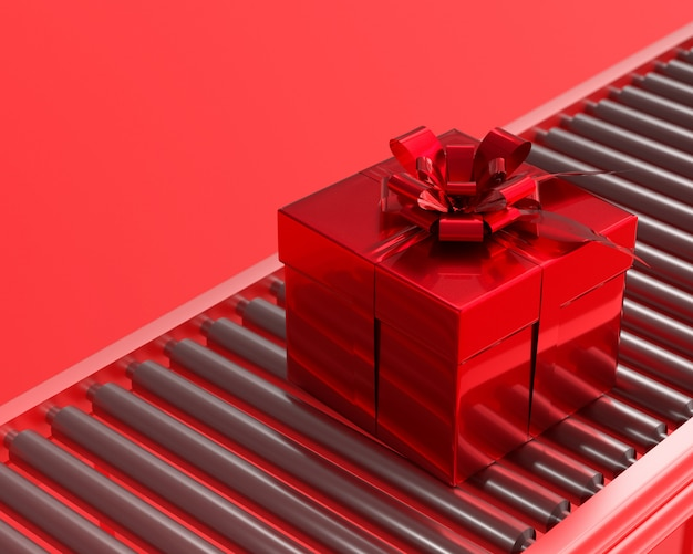 New year and christmas concept red gift box.