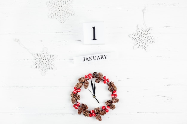New year or christmas flat lay wooden calendar. 1 january