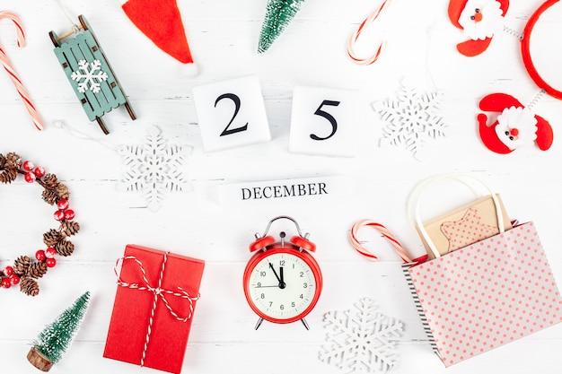 New year or christmas flat lay wooden calendar. 25 december
