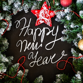 New year and christmas greeting card. new year's concept