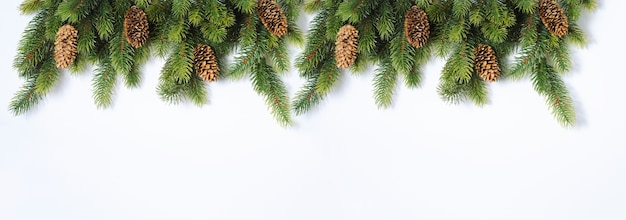 New year and christmas mock-up with fir tree branches and pine cone decorations