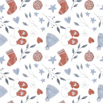 白の新年クリスマスシームレスパターン冬のデザインスカンジスタイルの色鉛筆クリスマスプリント