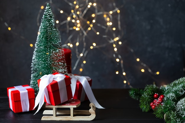 New year and christmas . toys, gifts, tree, sled, garland
