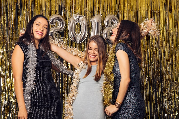 New year club party with happy girls