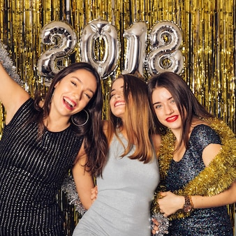 New year club party with joyful friends