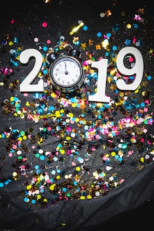 New year composition of clock and number 2019