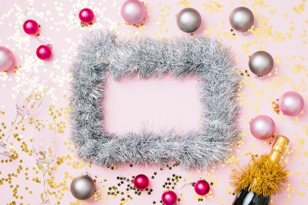 New year composition of frame from grey tinsel